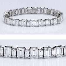 "20ct D/VVS1 Emerald Cut Diamond Bracelet 14K White Gold Over 7"" Tennis Bracelet"