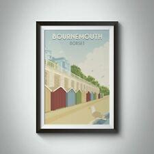 More details for bournemouth beach dorset seaside travel poster - framed  - bucket list prints