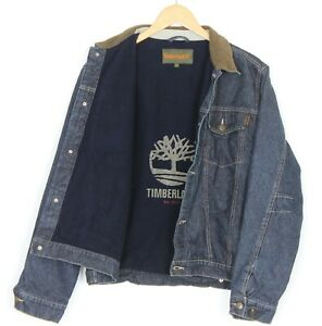 TIMBERLAND Wool Blend Lined Padded Jeans Denim Jacket Boys Men Size 16 ~S MJ2165