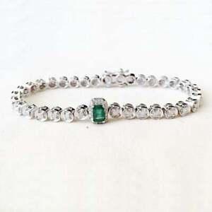4.00Ct Emerald Round Diamond Link Bracelet For Ladies 14KT White Gold Finish