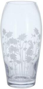 Dartington Crystal Bloom barrel vase, aquilegia flower, etched glass, 22cm