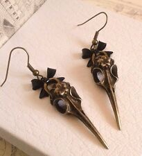 Antique Steampunk Style Lolita Bird Skull Earrings. Gothic. Black Bow. style A.