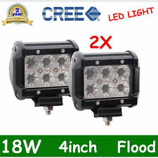 2x 4in 18W CREE LED LIGHT BAR WORK FLOOD LAMP OFFROAD BOAT UTE TRUCK SUV DEAL