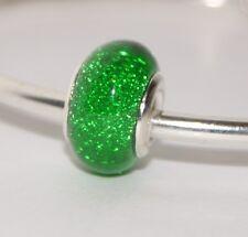 DEEP GREEN GLITTER SPARKLY BEAD Silver European Charm for Bracelet
