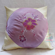 PAIR(2PCS)purple with sequins embroidered floral Square Satin Cushion Cover