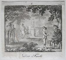 Wilhelm Jury Der Faule Kupferstich 1799 Sittenspiegel für die Jugend Charakter