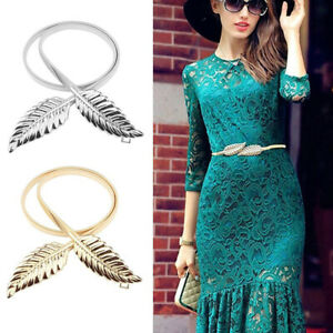 Women Belt Gold Silver LEAF Elastic Metal Stretch High Waist Dress Cummerbund