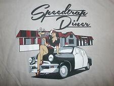 SPEEDTRAP DINER T SHIRT Retro 50s Car Hop Pinup Girl Truck Stop Cop Ohio L