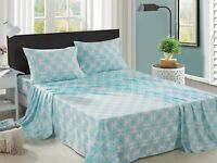 Bed Sheet Set 4 Pieces Full Queen Damask Teal Printed Super Soft for Summer