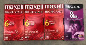 Lot of 4 Sony/Maxell VHS Tapes T-160/T-120 Sold As Blanks To Be Recorded Over