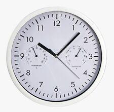 Design Wanduhr McVoice mit Thermometer Hygrometer Ø 25 cm Küchenuhr weiß silber