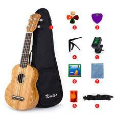 Kmise Soprano Ukulele Kit 21 Ukelele Uke ZebraWood Hawaii Guitar with Tuner&Bag