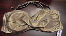 Old Navy Gold Shimmer Large Womens Swim Top Back Closure Tie Neck NWT