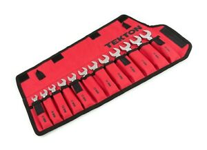 Tekton WRN01190 12 Pc Metric Stubby Combination Wrench Set w/ Pouch, 8-19 mm