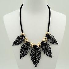 New Fashion Black Alloy Clear Crystal Leaf Pendant Bib Statement Necklace 04733