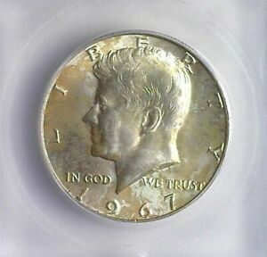 1967 KENNEDY SILVER 50 CENTS ICG MS 66 LIST FOR $175!! SUBTLE TONING!!