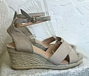 H & M Nude Beige Rope Wedge Ankle Strap Sandals Size 4/37