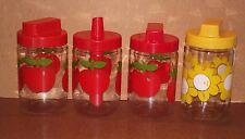 4 bocaux pots HENKEL vintage pommes rouges fleurs jaunes pub pots cuisine épices