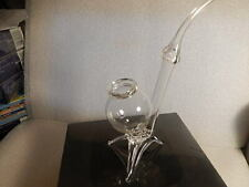Vtg Bohemian Brandy sipper Pipe Glass Crystal Czech NEW UNUSED /COGNAC WHISKEY
