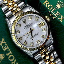 18K GOLD Rolex 31mm Medium size Datejust 2 Tone SS White Pearl with Diamond Lugs