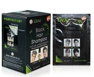 Dexe Black Hair Shampoo 5 minutes Instant Long Lasting Hair Dark Black - Pack 10