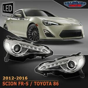 Fit 12-16 Scion FR-S Toyota 86 Projector Headlights LED DRL Bar Chrome Clear