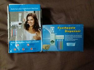 Sterilizzatore UV Spazzolini Dispenser Dentifricio e Supporto Spazzolini +omagg