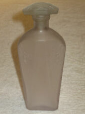 """Vintage Frosted Glass Perfume Bottle & Stopper - Art Nouveau Flowers/Bees - 7"""""""