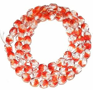 CZ399 Crystal & Red 6mm Fire-Polished Faceted Round Czech Glass Beads 16""