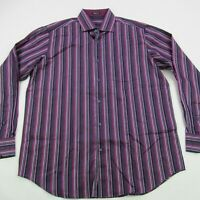 Bugatchi Uomo Mens Button Up Casual Shirt Classic Fit Stripes Purple Large