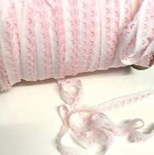 5 metres, white and pink lacy 11mm guipure edge knicker elastic