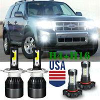 For Ford Escape 2008-2012 LED Headlights High Low Beam + Fog Light Bulbs Combo