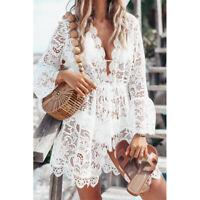 Damen V-Ausschnitt Spitze Bademode Bikini Cover Up Top Sommer Strand Minikleid