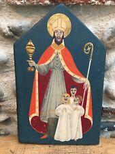 Belle Peinture Icône Saint Nicolas 1950 Religion Paris Peint Sur Panneau  Bois