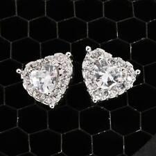 925 Silver Heart Women White Sapphire CZ Stud Earrings Luxury Wedding Jewelry