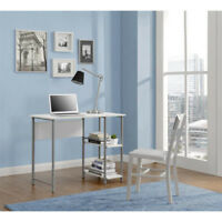 Computer Desk Home Office Furniture Student Dorm Laptop Table Shelves Wood White