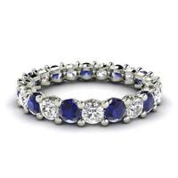 2.03 Ct Natural Blue Sapphire Eternity Band 950 Platinum Diamond Ring Size 5 6.5