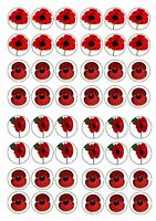 POPPY FLOWERS EDIBLE RICE WAFER PAPER CUP CAKE TOPPER X48