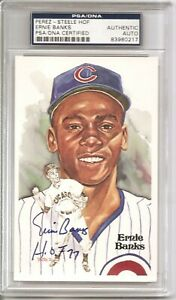 1981 Perez-Steele Hall of Fame 6th Series Postcard Signed by Ernie Banks PSA/DNA