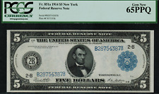 1914 $5 Federal Reserve Note - New York FR-851a - PCGS 65PPQ - Gem New