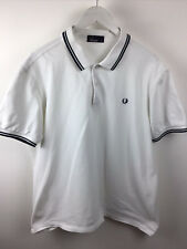 Vintage Authentic White Fred Perry Polo Shirt Size XL Mod Retro Scooter