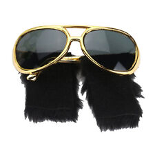 Novelty Black Side Whiskers Gold Sunglasses Funny 1970s Disco Costume Props