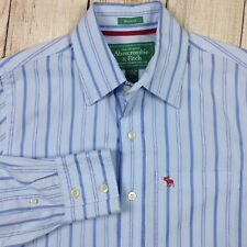 Abercrombie & Fitch Men's Dress Shirt Small Muscle Fit Blue Striped Casual