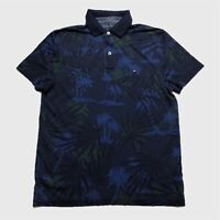 Mens Tommy Hilfiger Polo Shirt Small Blue Floral Short Sleeve