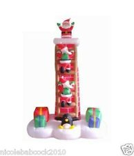 CHRISTMAS 7' ANIMATED SANTA CLAUS CLIMBING CHIMNEY LADDER AIRBLOWN INFLATABLE