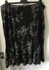 Monsoon Brown Floral Needle Cord Skirt Size 20 With Beading Plus Size