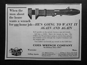 RARE 1927 Antique DEALER Ad  COES Wrench Co. Adjustable Monkey Worcester MA Vtg