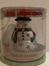 Yankee Candle Snowman Luminary Ceramic Tea Light Gift Set Sparkling Cinnamon NIP