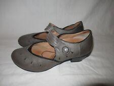 AETREX Women's Gray Strap Leather Wedge Sandal - US 9.5 / EU 41.5 Clean!