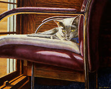 ANGELICA - RUSSIAN BLUE MATTED MINI CAT ART PRINT by DREW STROUBLE CATMANTDERW
